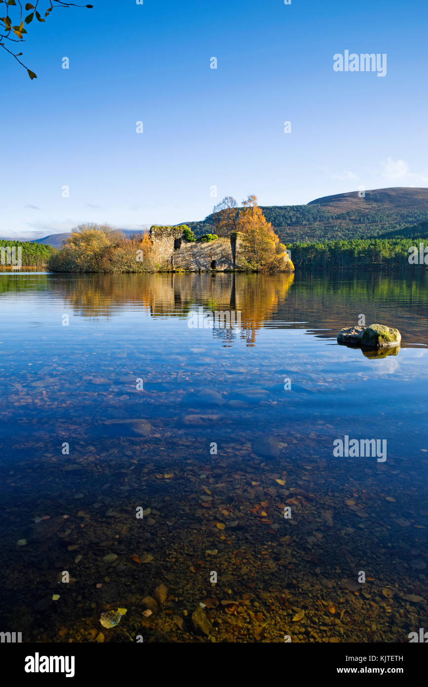 Loch an Eilein, Rothiemurchus, Cairngorms, Scottish Highlands, UK. The old ruined island castle reflected in the - Stock Image