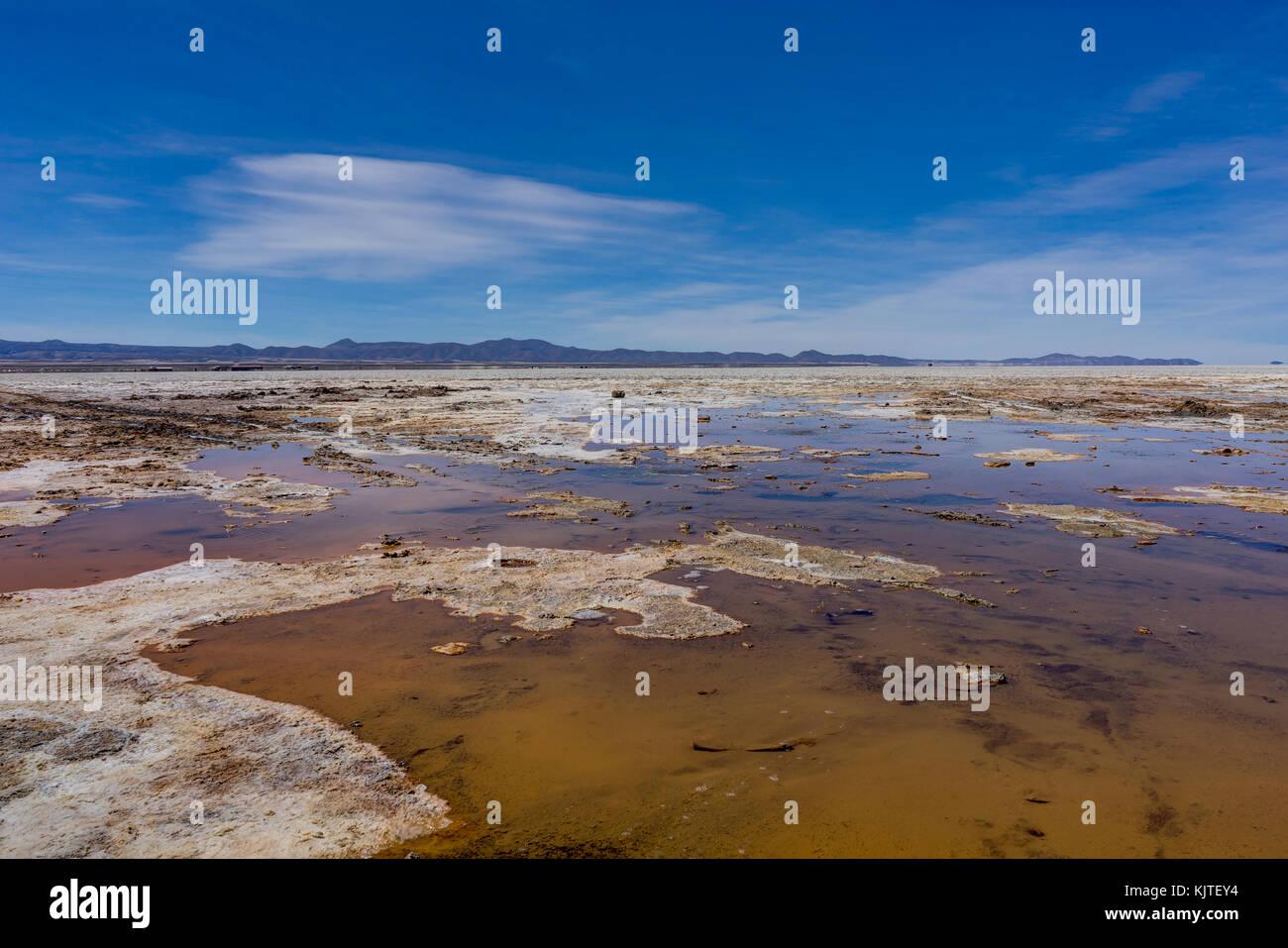 Photo taken in August 2017 in Uyuni Bolivia, South America: Salt Flats in Salar de Uyuni Desert Bolivia. Salar de Stock Photo