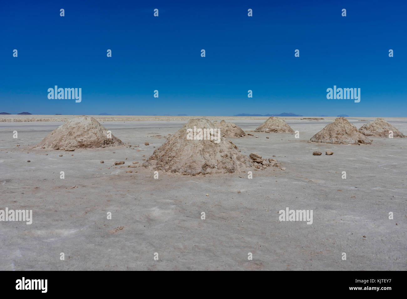Photo taken in August 2017 in Uyuni Bolivia, South America: Salt Flats in Salar de Uyuni Desert Bolivia. Salar de Stock Photo