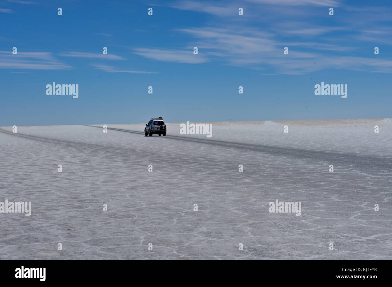 Photo taken in August 2017 in Uyuni Bolivia, South America: Jeep Tour Salt Flats in Salar de Uyuni Desert Bolivia. Stock Photo