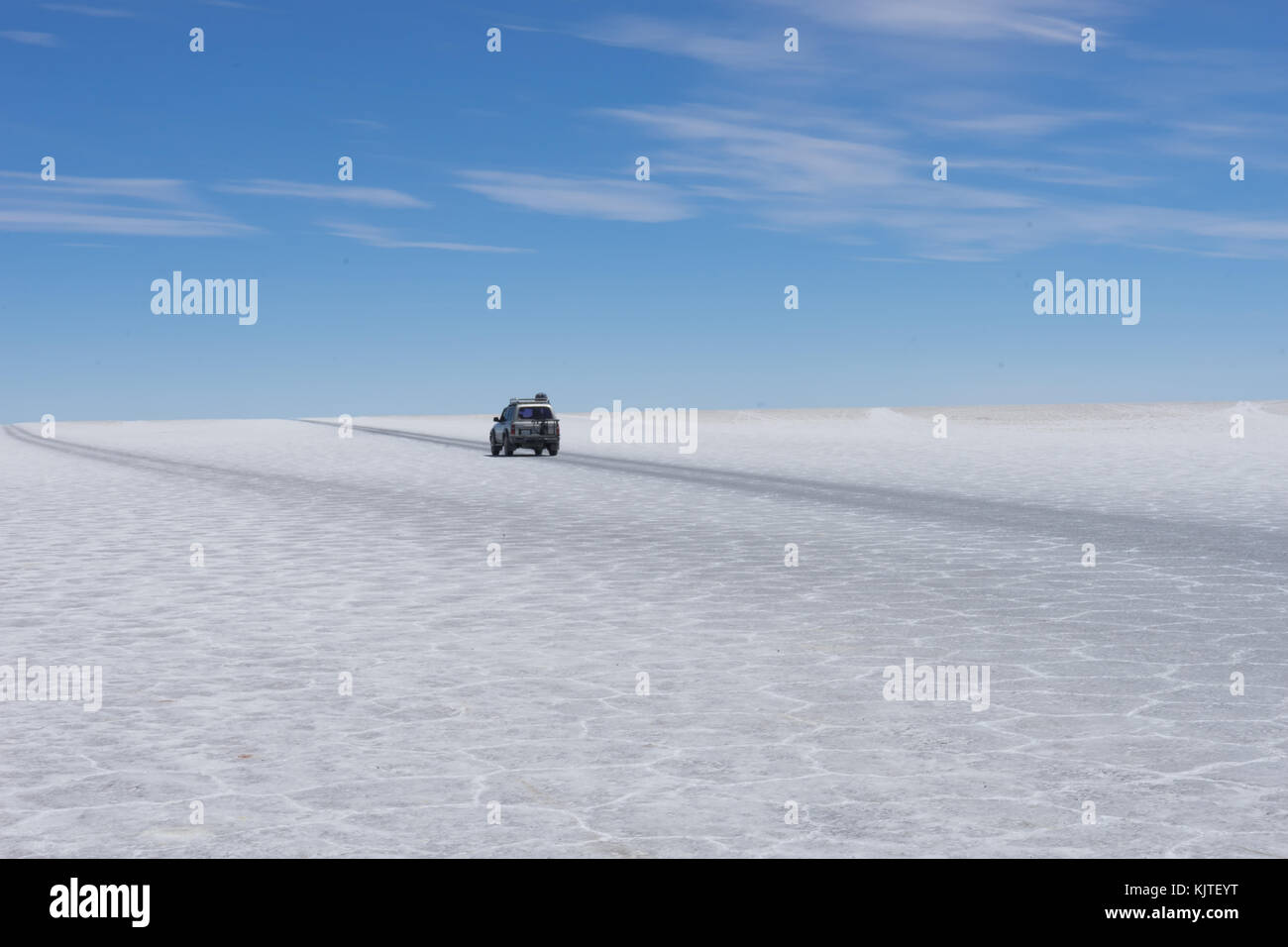 Photo taken in August 2017 in Uyuni Bolivia, South America: Jeep Tour Salt Flats in Salar de Uyuni Desert Bolivia. Stock Photo