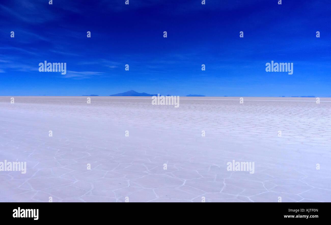 Photo taken in August 2017 in Uyuni Bolivia, South America: Salt Flats in Salar de Uyuni Desert Bolivia. Salar de - Stock Image