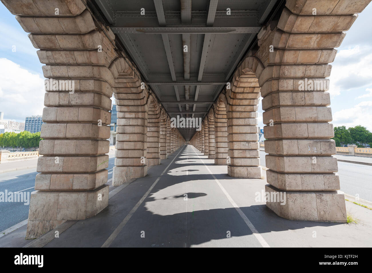 vanishing point view from under Bercy bridge in Paris  - Stock Image