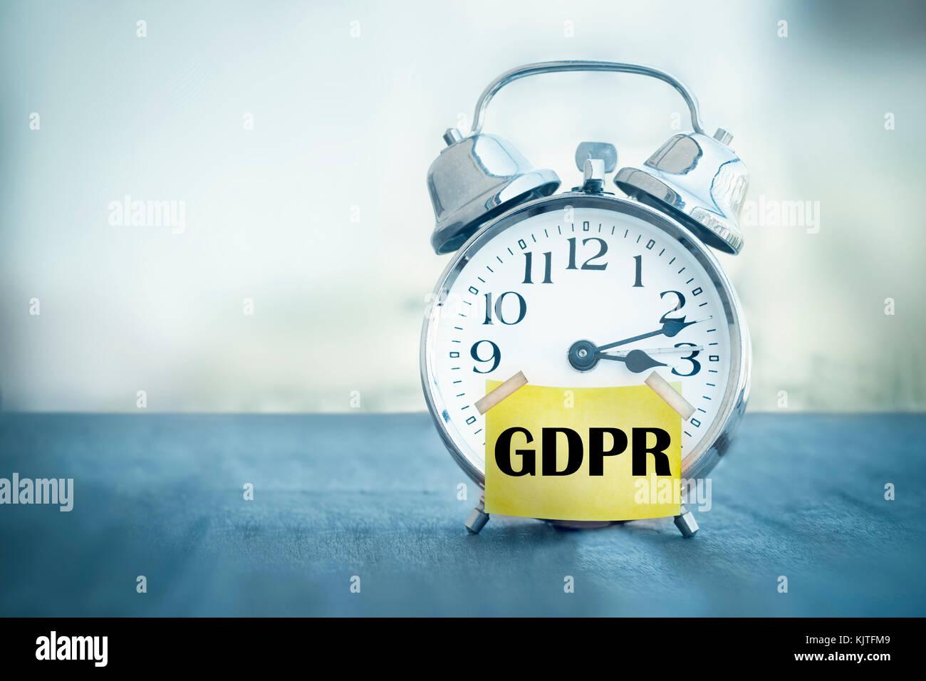 GDPR General Data Protection Regulation alarm clock - Stock Image
