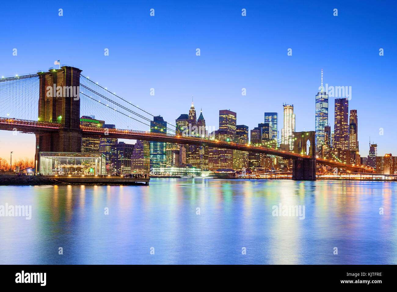 New York skyline New York City Brooklyn Bridge One WTC World Trade Center - Stock Image