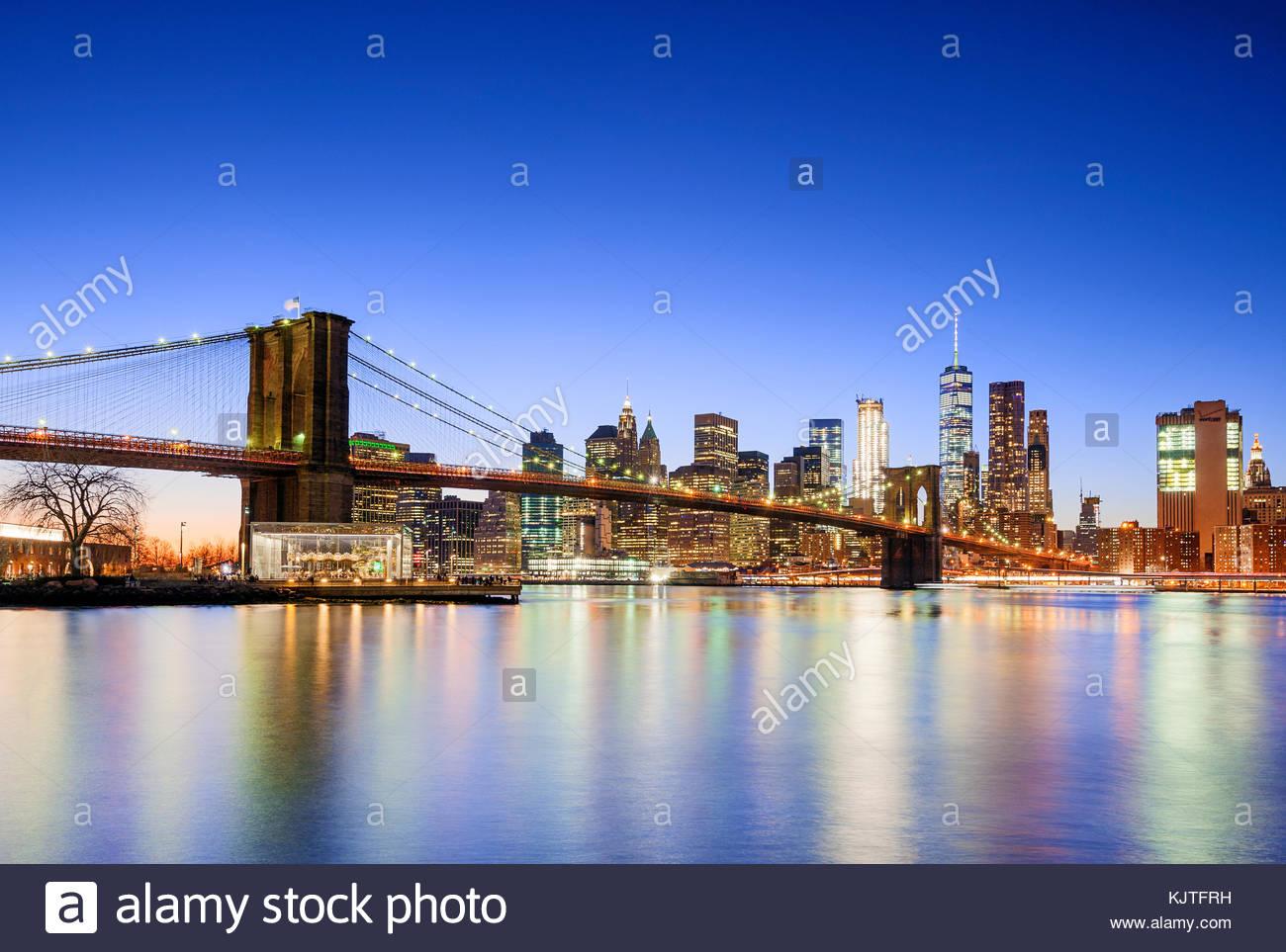 New York skyline New York City Brooklyn Bridge One WTC World Trade Center - Stock Image