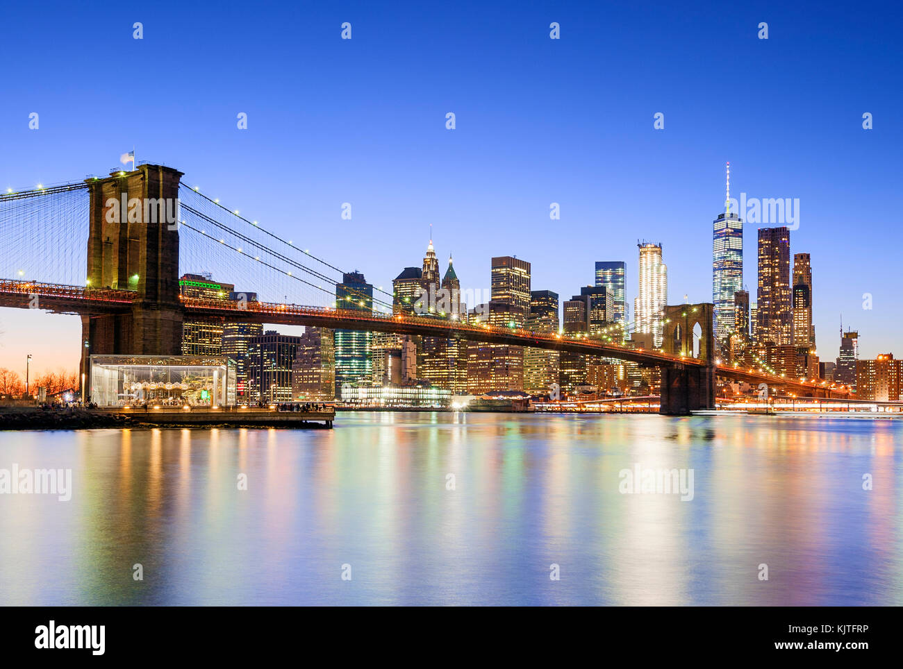 New York skyline New York City Brooklyn Bridge One WTC World Trade Center Stock Photo