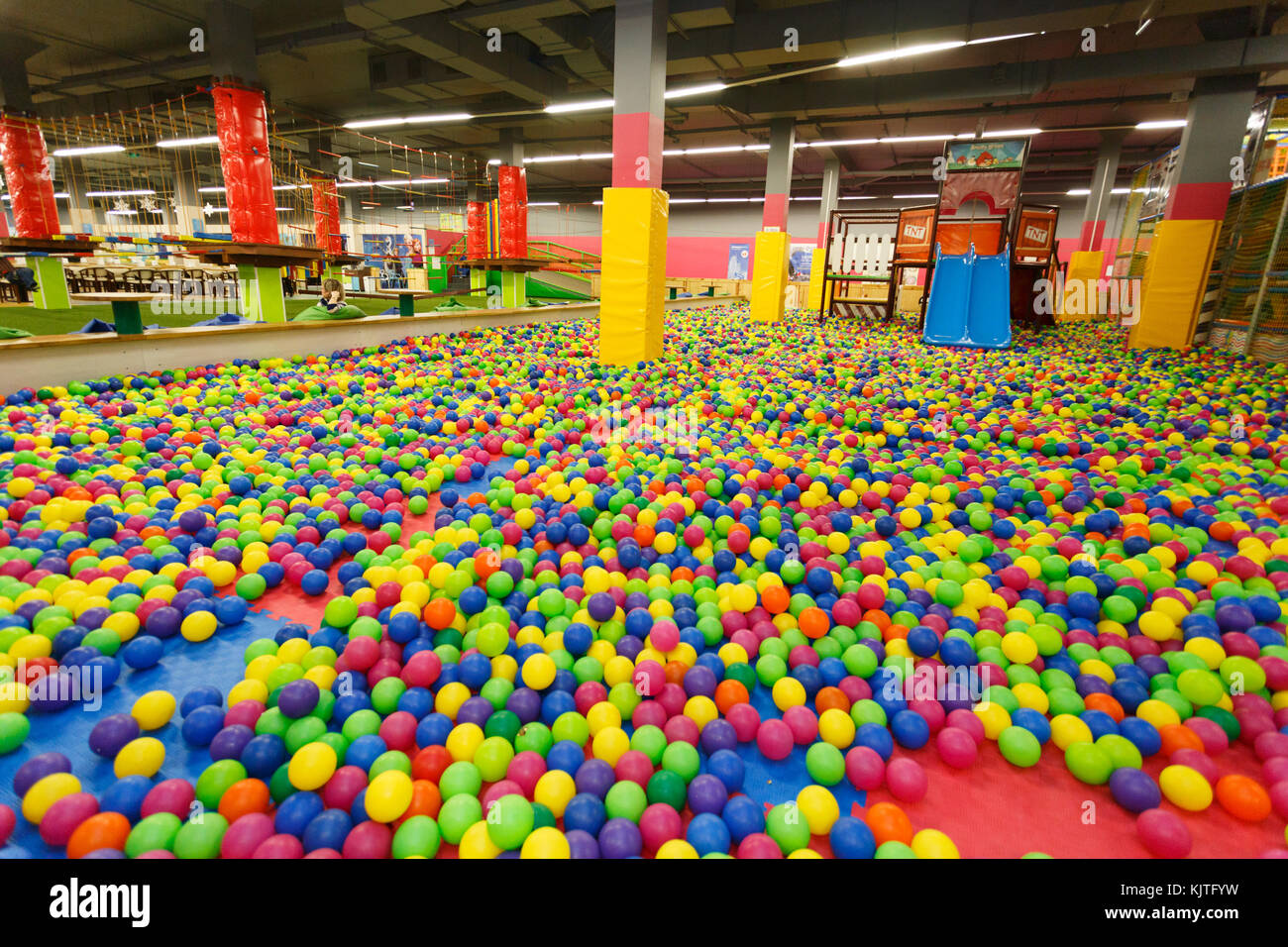 A modern children playground indoor wide angle - Stock Image