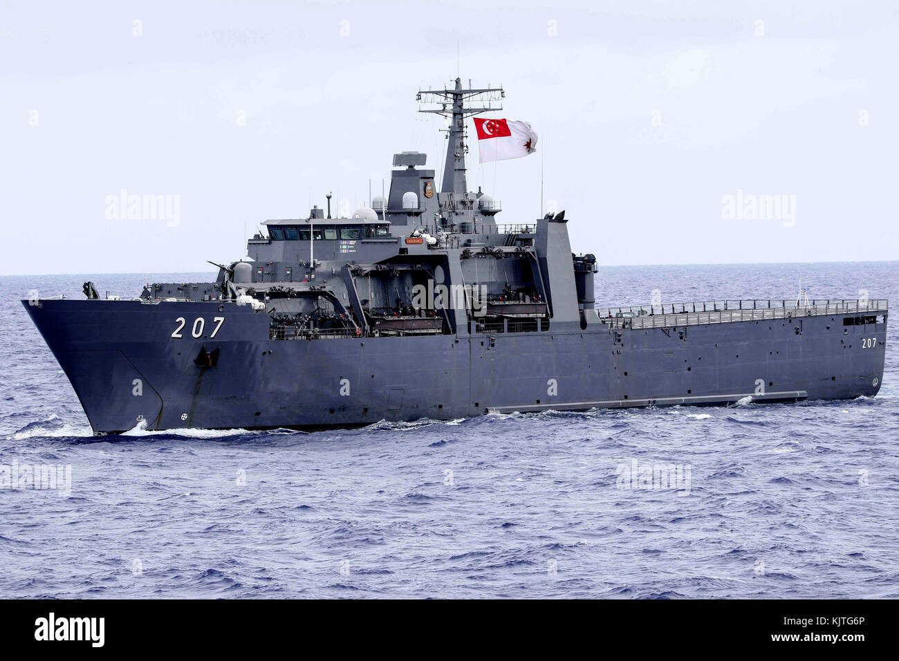 The Singaporean Navy Endurance-class landing platform dock ship RSS Endurance steams underway during exercise Pacific - Stock Image