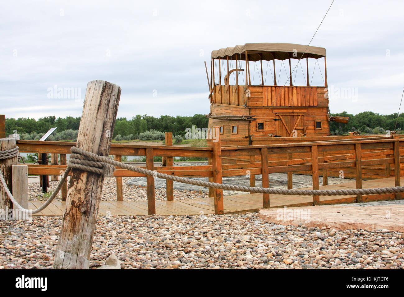 historic landmarck lewis and clark aged wood river boat on shore of missouri river Bismarck,ND - Stock Image