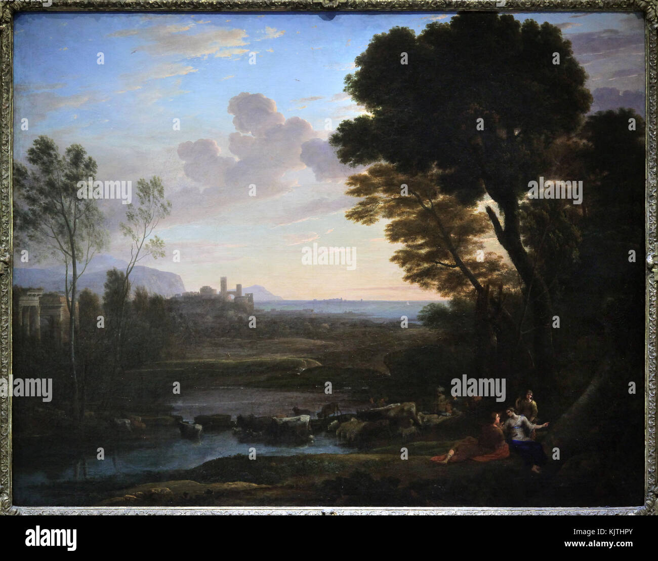 Painting;Landscape with Paris and Oenone,also called The Ford 1648 by Claude Gellee.aka Claude Lorrain 1602-1682 - Stock Image