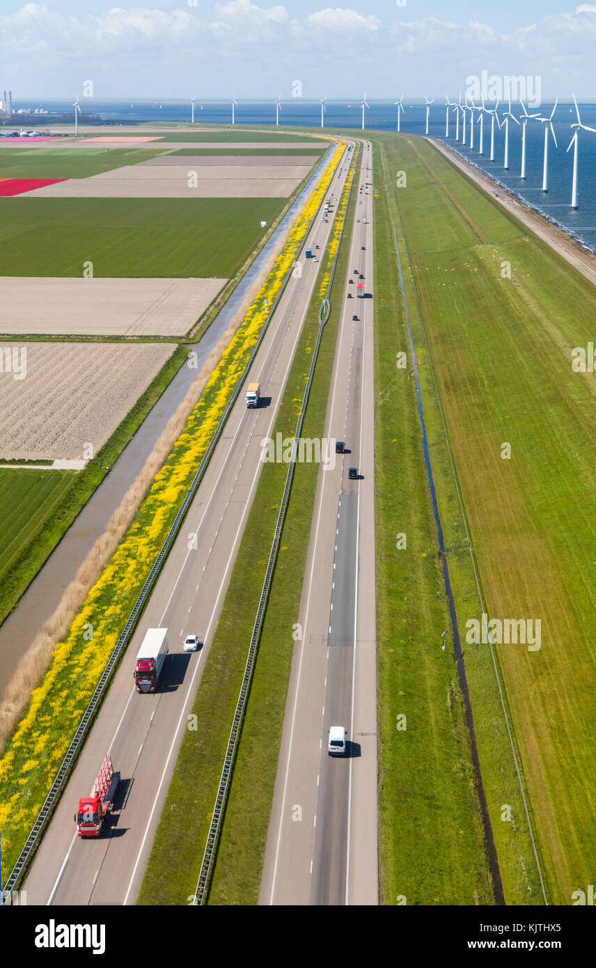 Aerial view of road and wind turbines, North Holland, Netherlands Stock Photo