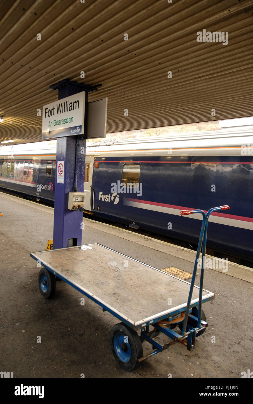 Fort William mainline rail station serving London with overnight sleepers. - Stock Image