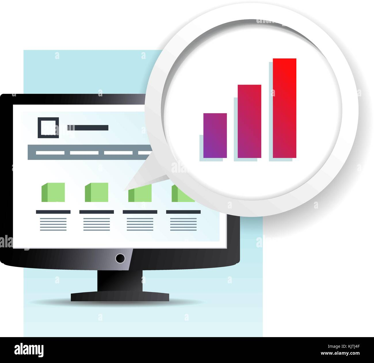 web page on the monitor icon - Stock Image