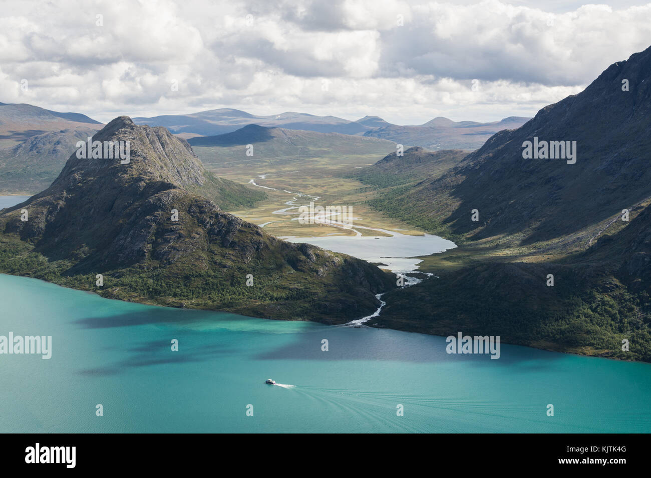 View from Besseggen ridge over Gjende and Ovre Leirungen lakes, Norway - Stock Image