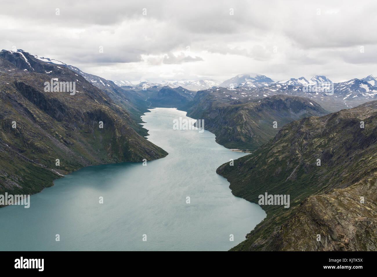 View from Besseggen ridge over Gjende lake and Memurubu, Norway - Stock Image