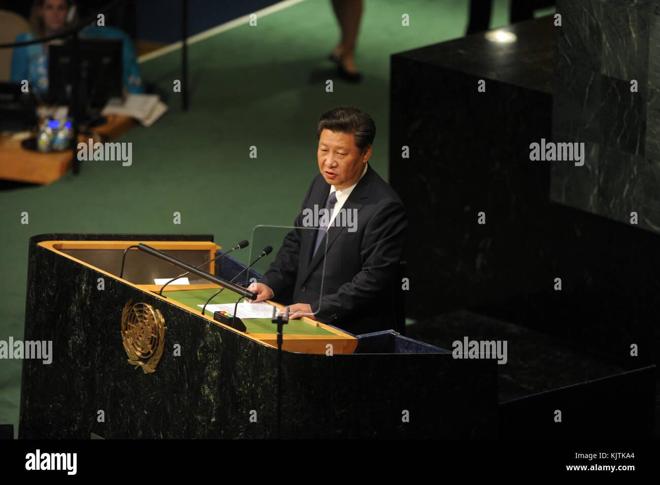 NEW YORK, NY - SEPTEMBER 26: Secretary-General Ban Ki-moon greets Xi Jinping, President of the People's Republic - Stock Image