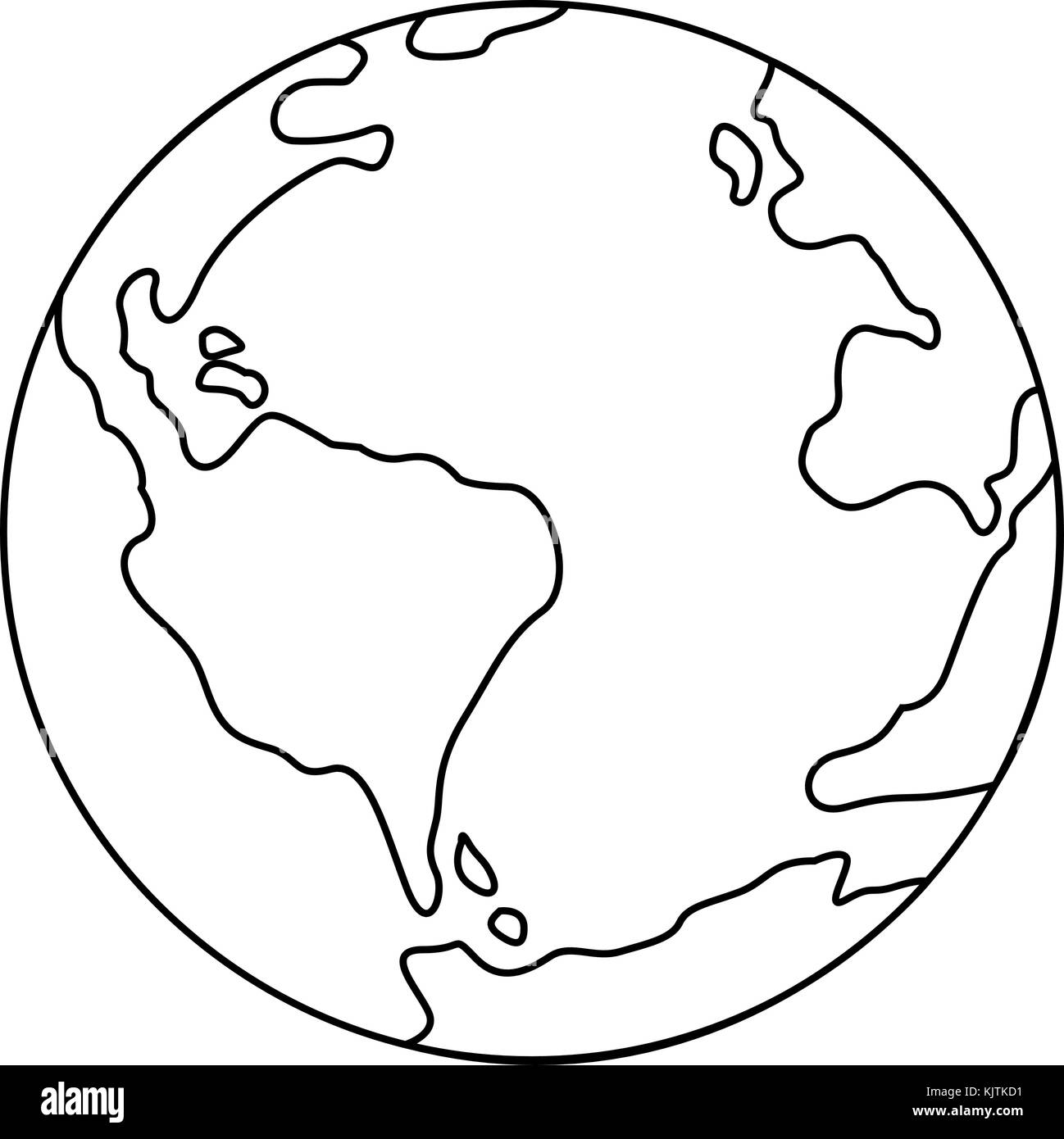 Symbol of earth thin line icon - Stock Image