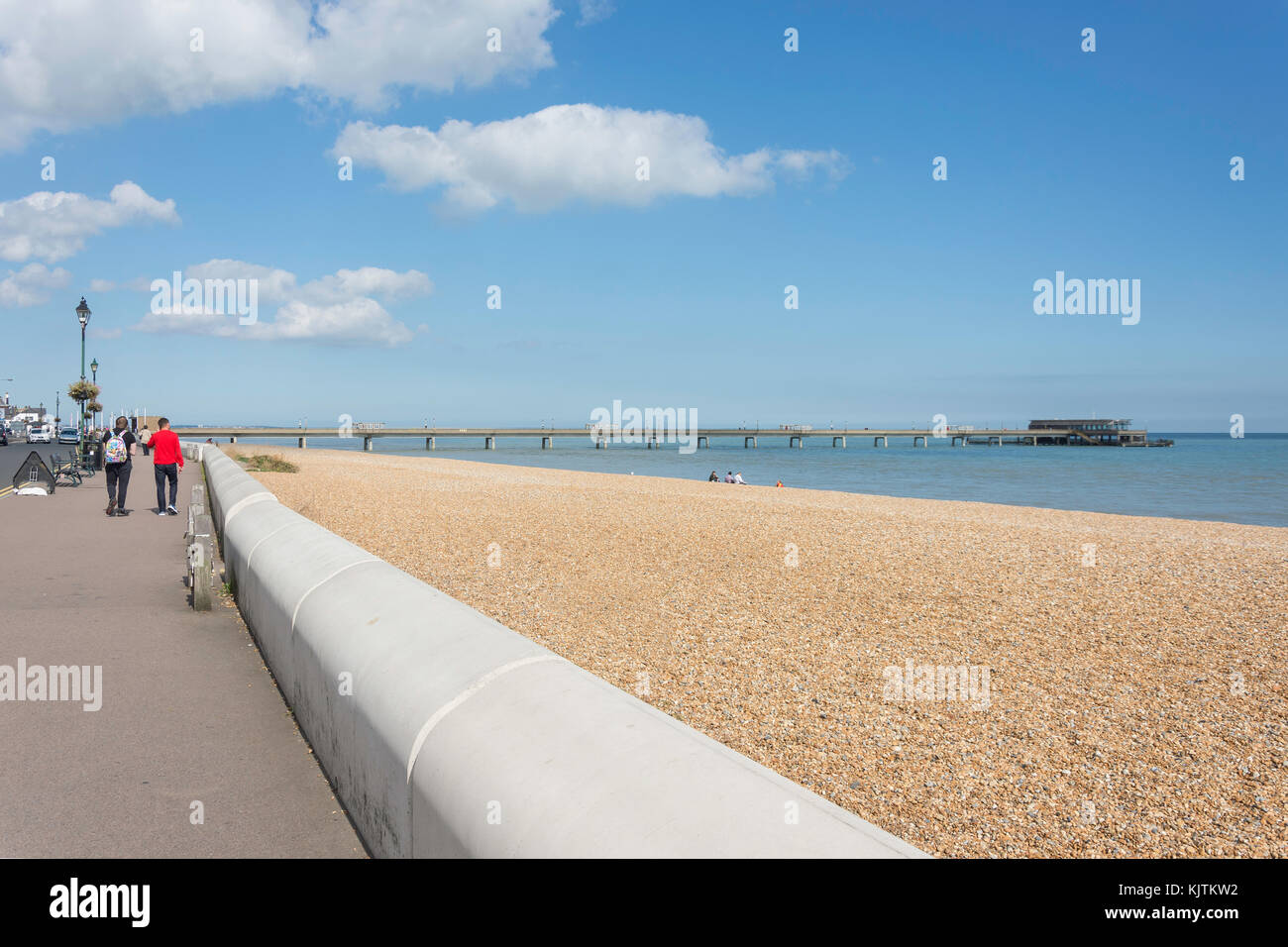 Beach and pier from promenade, Deal, Kent, England, United Kingdom - Stock Image