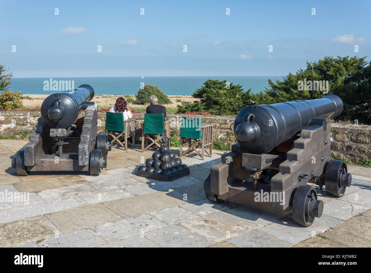 Cannons on castle's firing platform, Walmer Castle & Gardens, Kingsdown Road, Walmer, Deal, Kent, England, United Kingdom Stock Photo