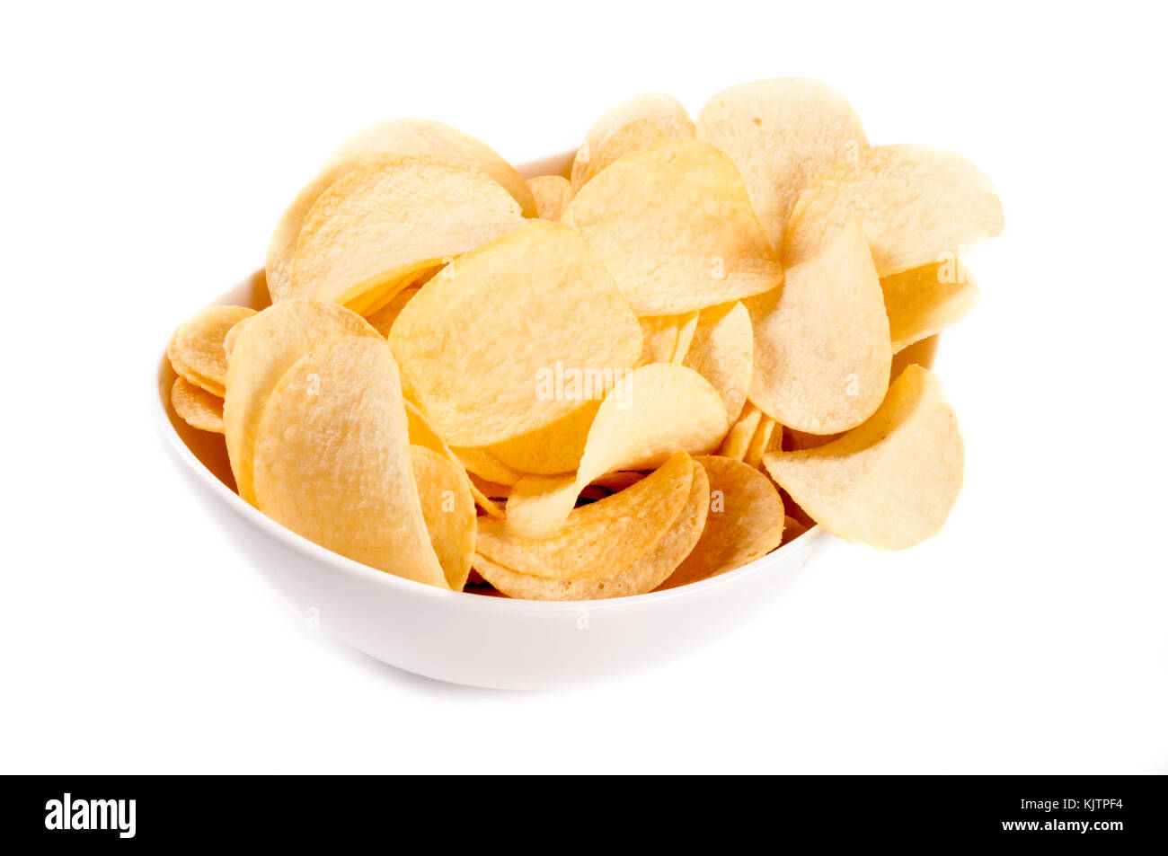 Potato chip in the cup isolated on white background - Stock Image