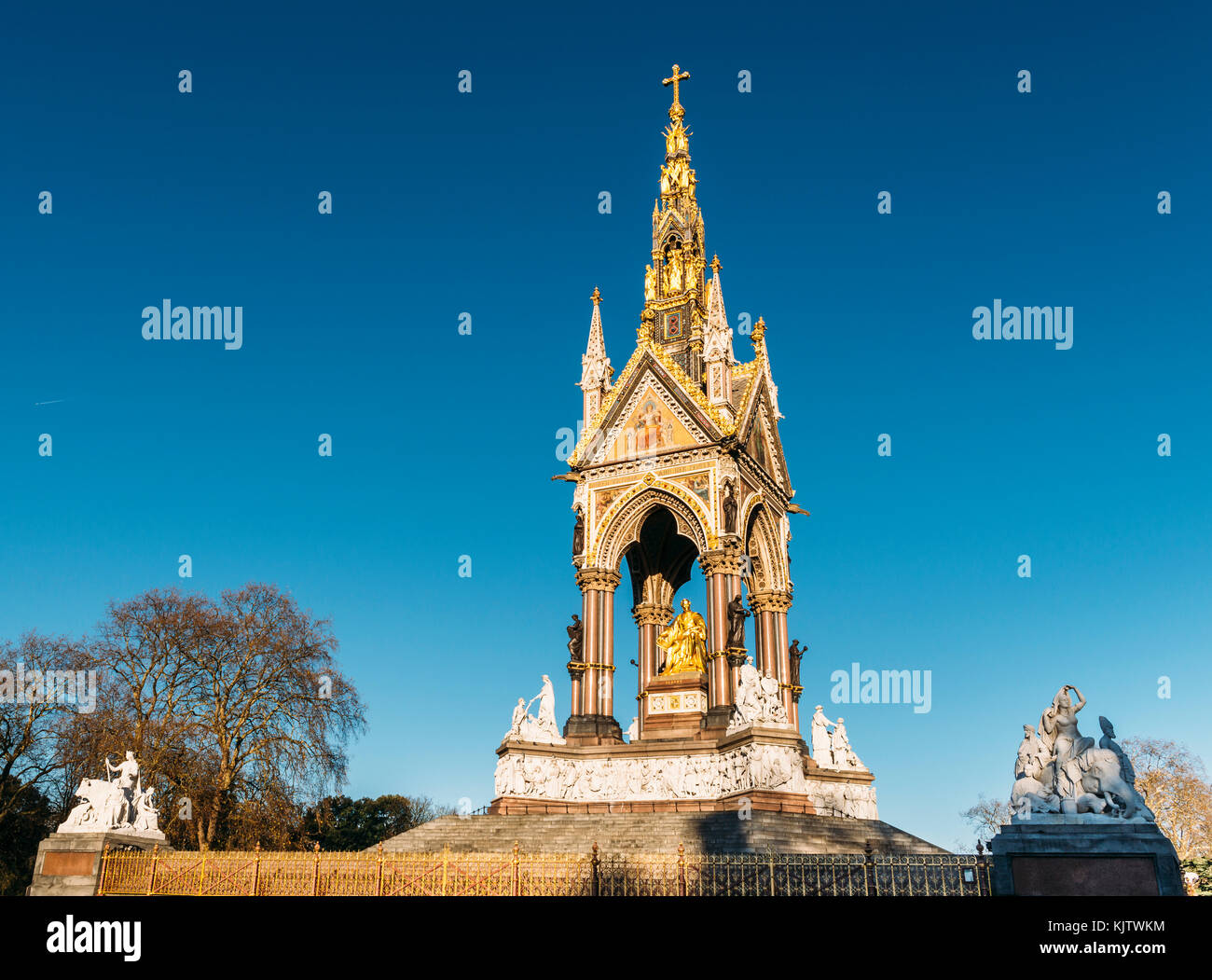 The Albert Memorial is situated in Kensington Gardens, London, directly to the north of the Royal Albert Hall. It - Stock Image