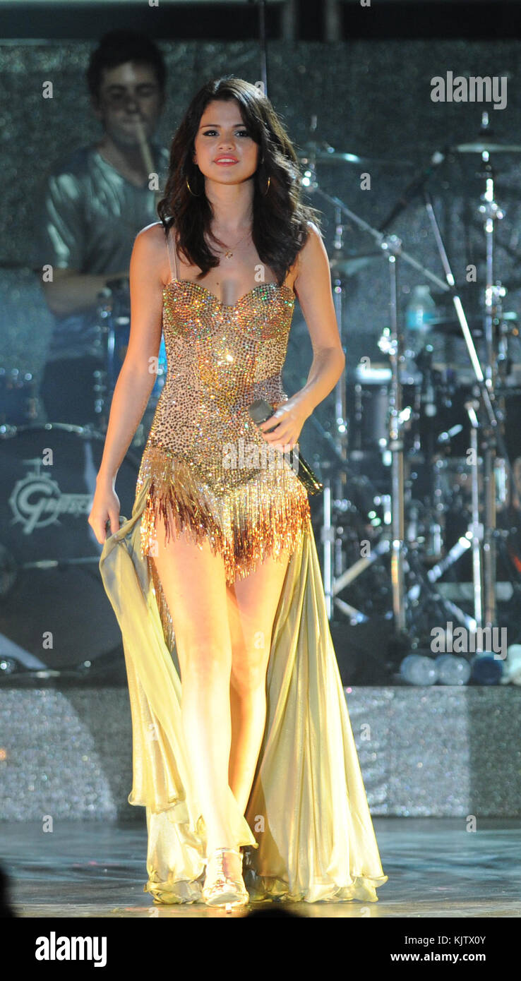 BOCA RATON, FL - JULY 28:  19 year old Disney star Selena Gomez performs her first show on her very first world - Stock Image