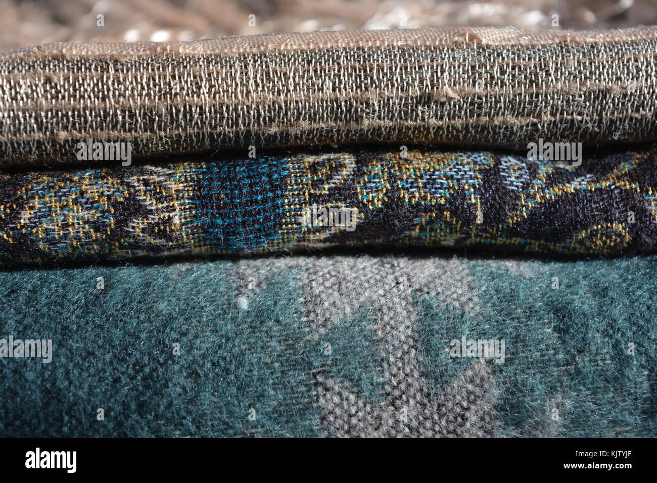 Wool scarf, selective focus showing the texture of the fabric. - Stock Image