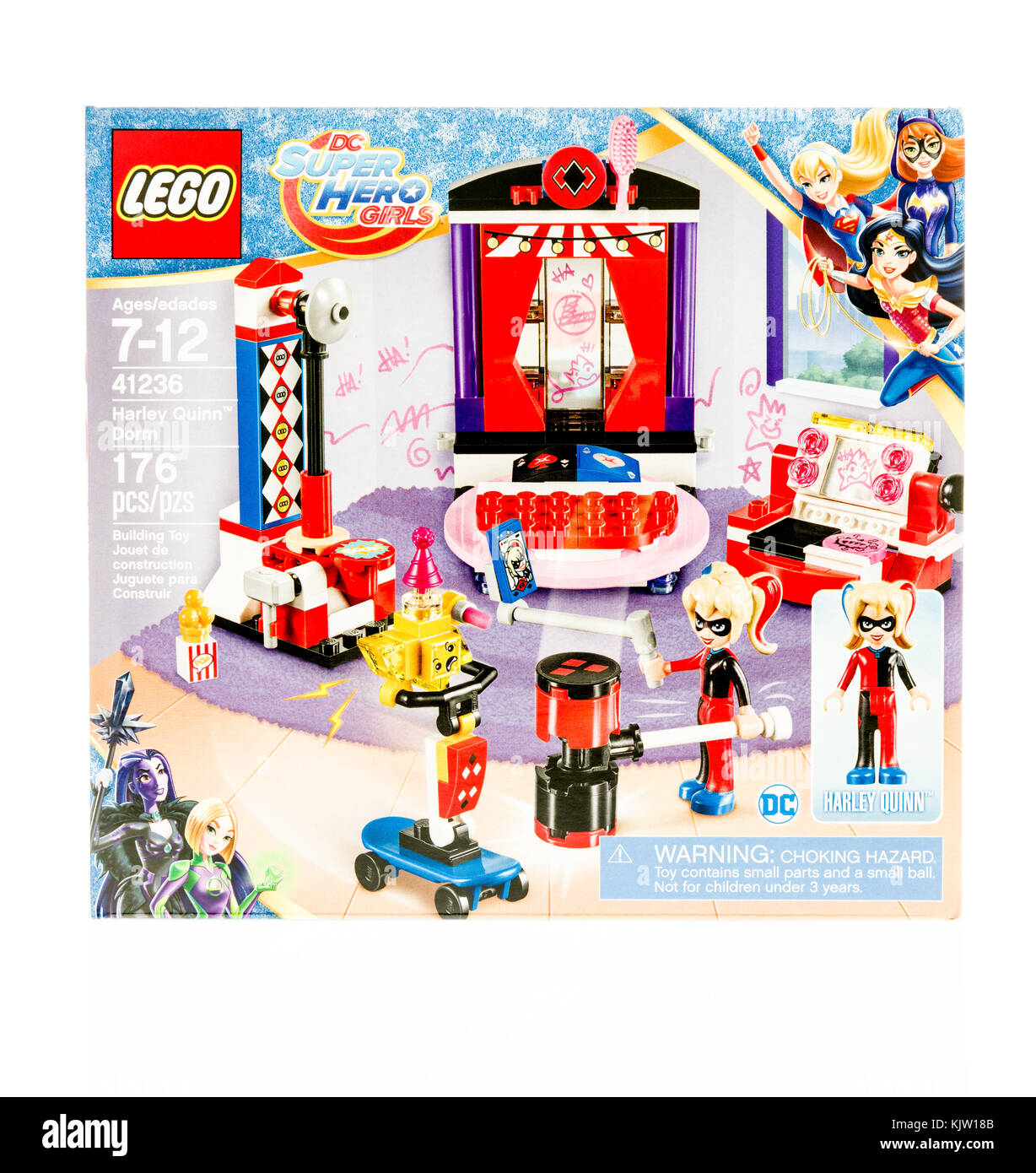 Winneconne, WI - 19 November 2017:  A box of Lego featuring DC Super Hero Girls with Harley Quinn in Dorm on an - Stock Image