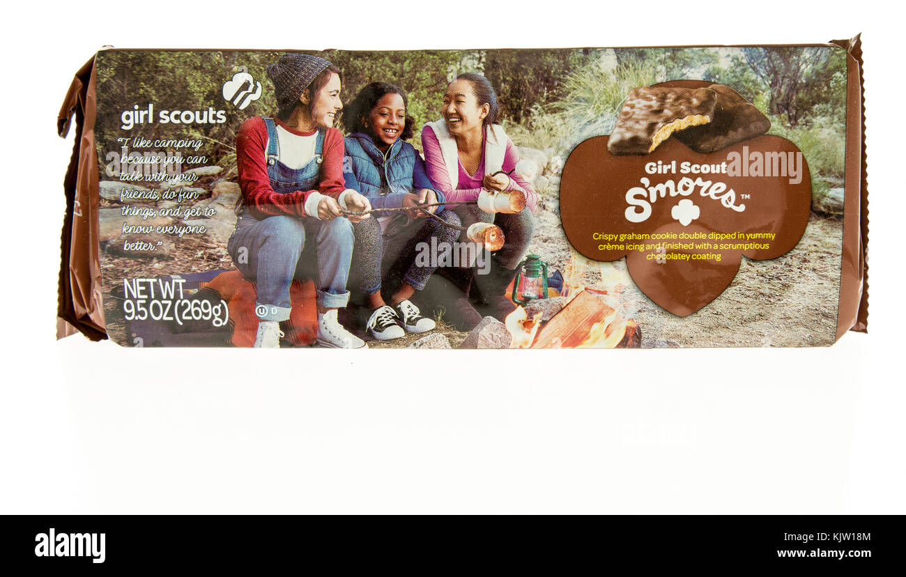 Winneconne, WI - 20 November 2017:  A package of s'mores girl scout cookies on an on an isolated background. - Stock Image