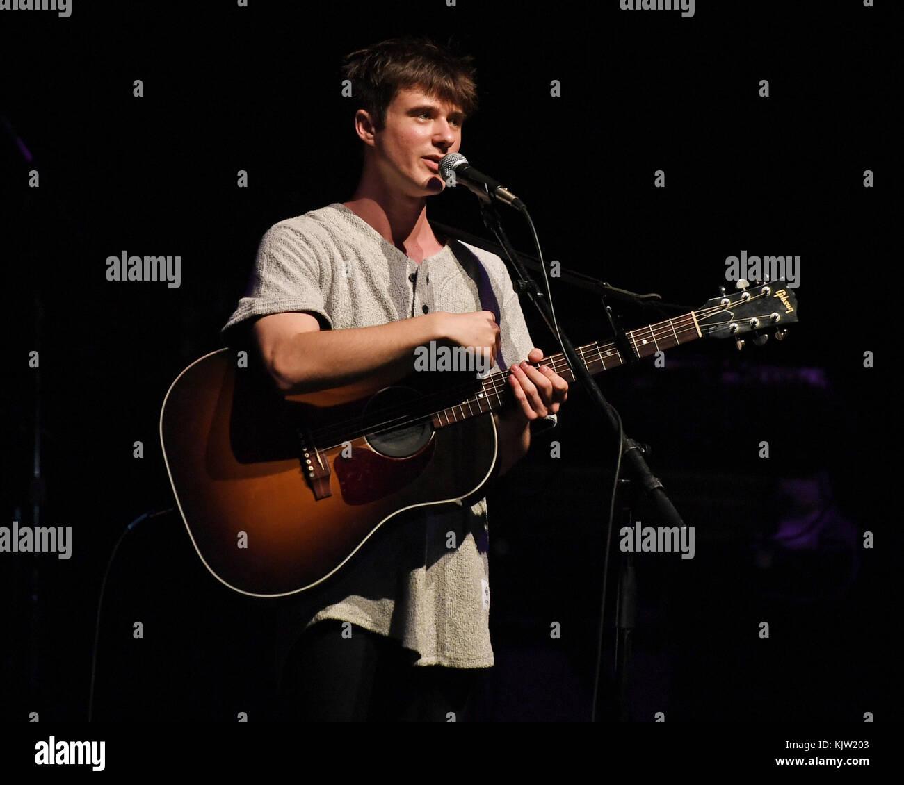 MIAMI BEACH, FL - DECEMBER 22: Alec Benjamin performs at the Fillmore on December 22, 2016 in Miami Beach, Florida. Stock Photo