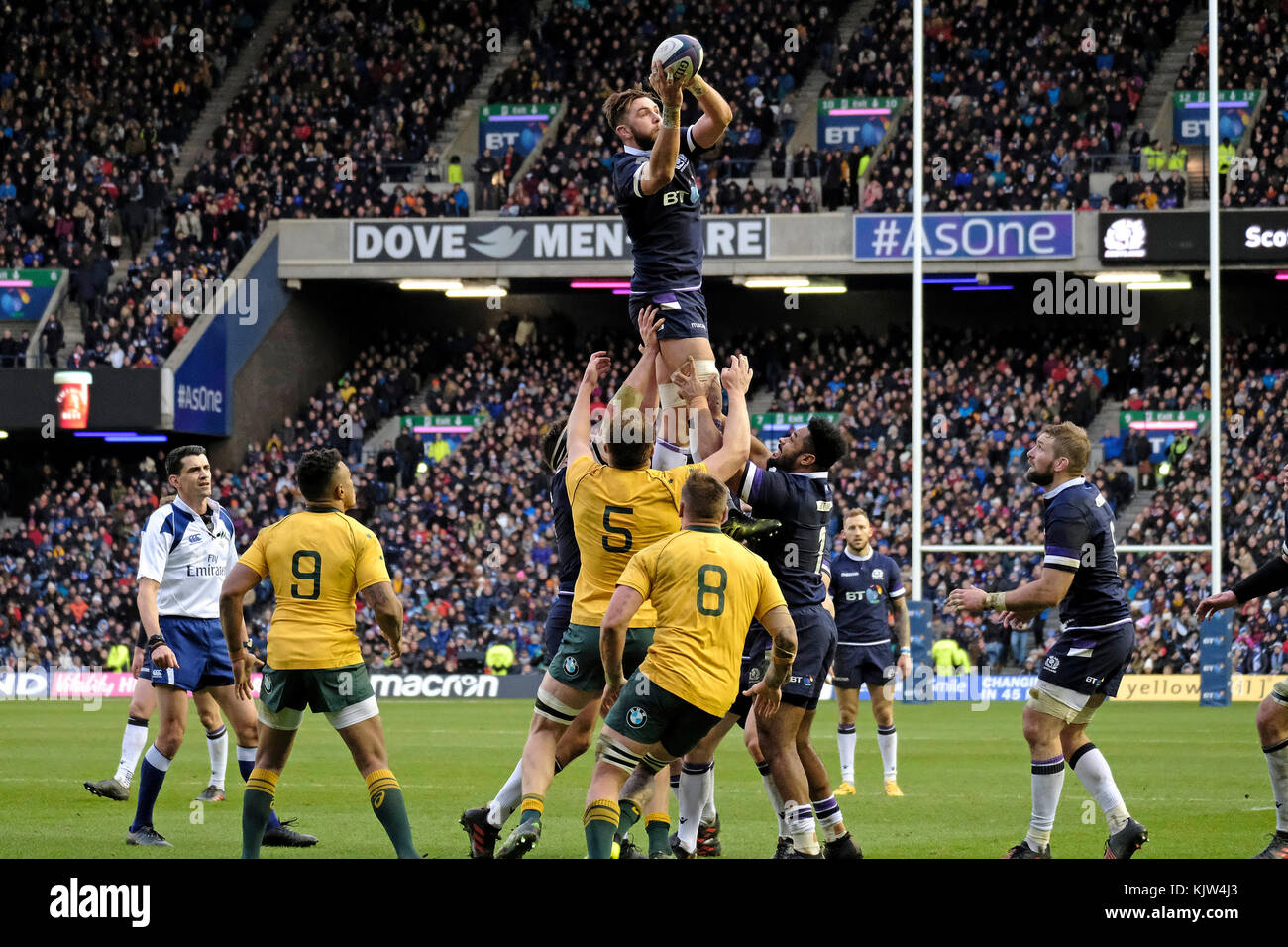 Edinburgh, BT Murrayfield Stadium, UK. 25th November, 2017. Autumn Tests Caption: Scotland host Australia at BT - Stock Image