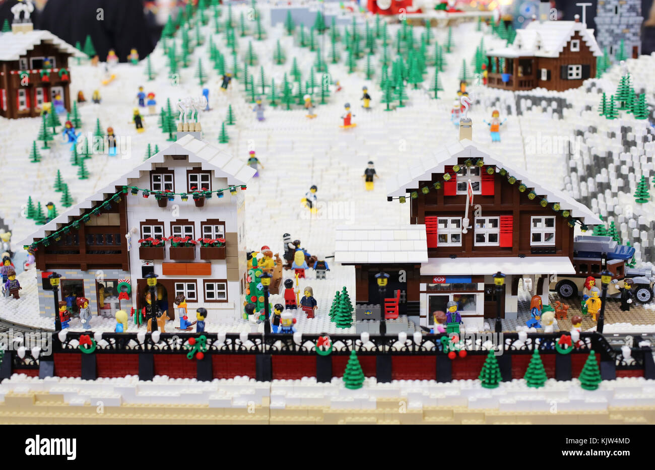 Minneapolis, Minnesota, USA. 25th November, 2017. A depiction of a ski resort, made entirely of LEGO bricks, on - Stock Image