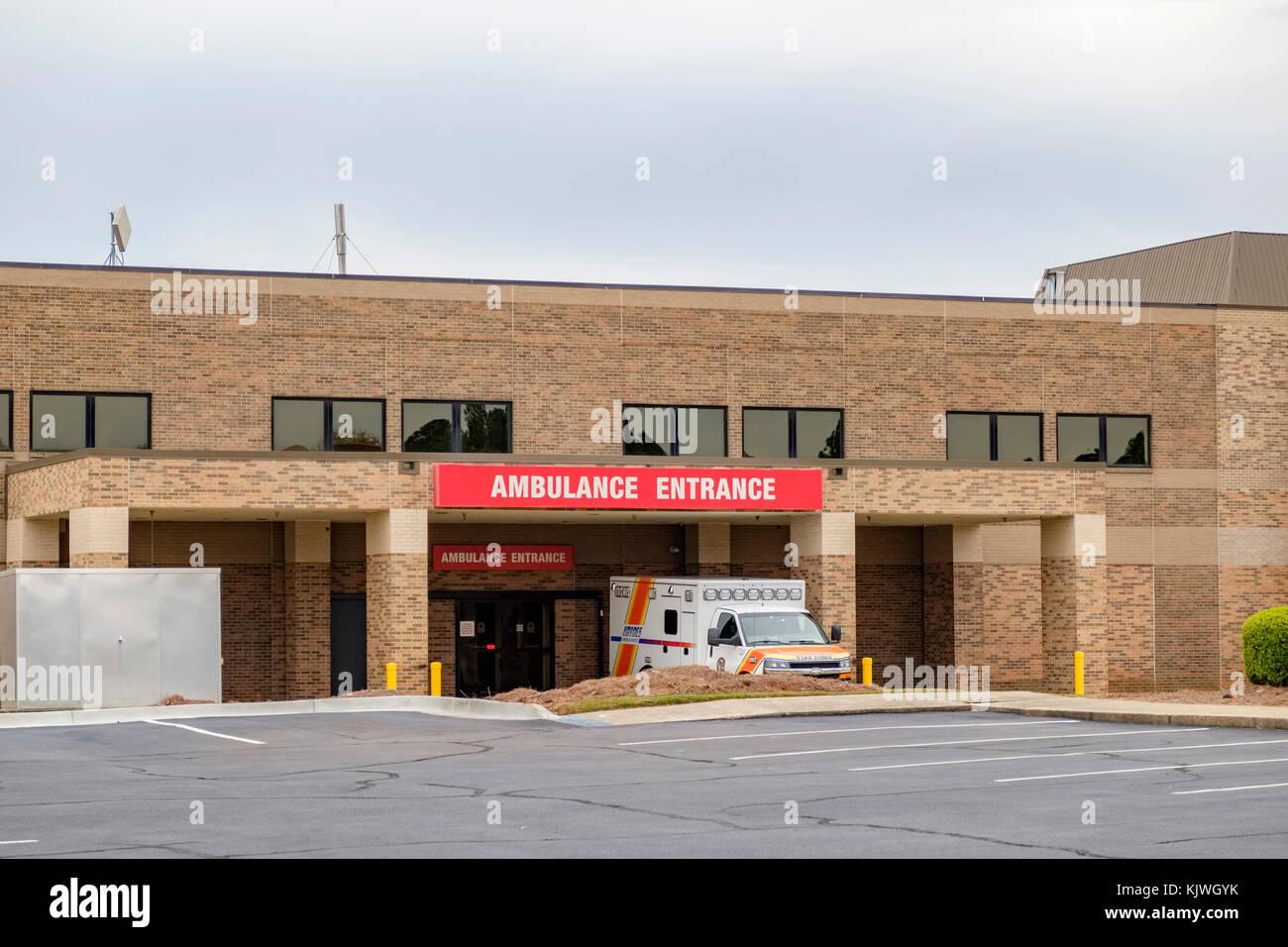 Hospital exterior emergency ambulance entrance, Montgomery Alabama USA. - Stock Image
