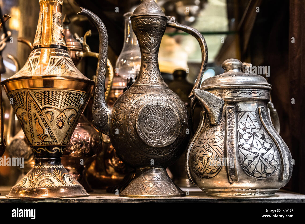 Traditional Turkish copper ewer Souvenirs in Istanbul Grand Bazaar. Stock Photo