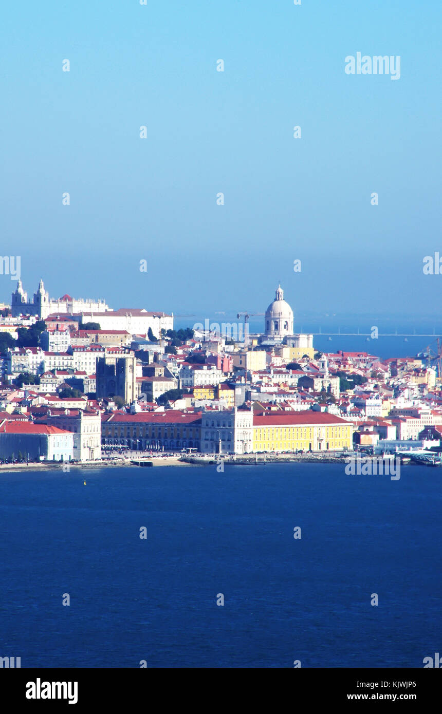 Viewed from the Tagus (Tejo) river. Lisbon, Portugal Stock Photo