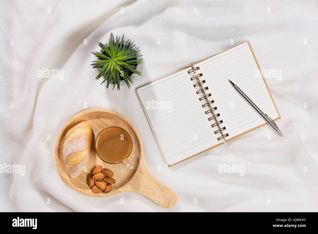Cozy And Tasty Breakfast With Coffee Mug And Croissant With Paper Stock Photo Alamy