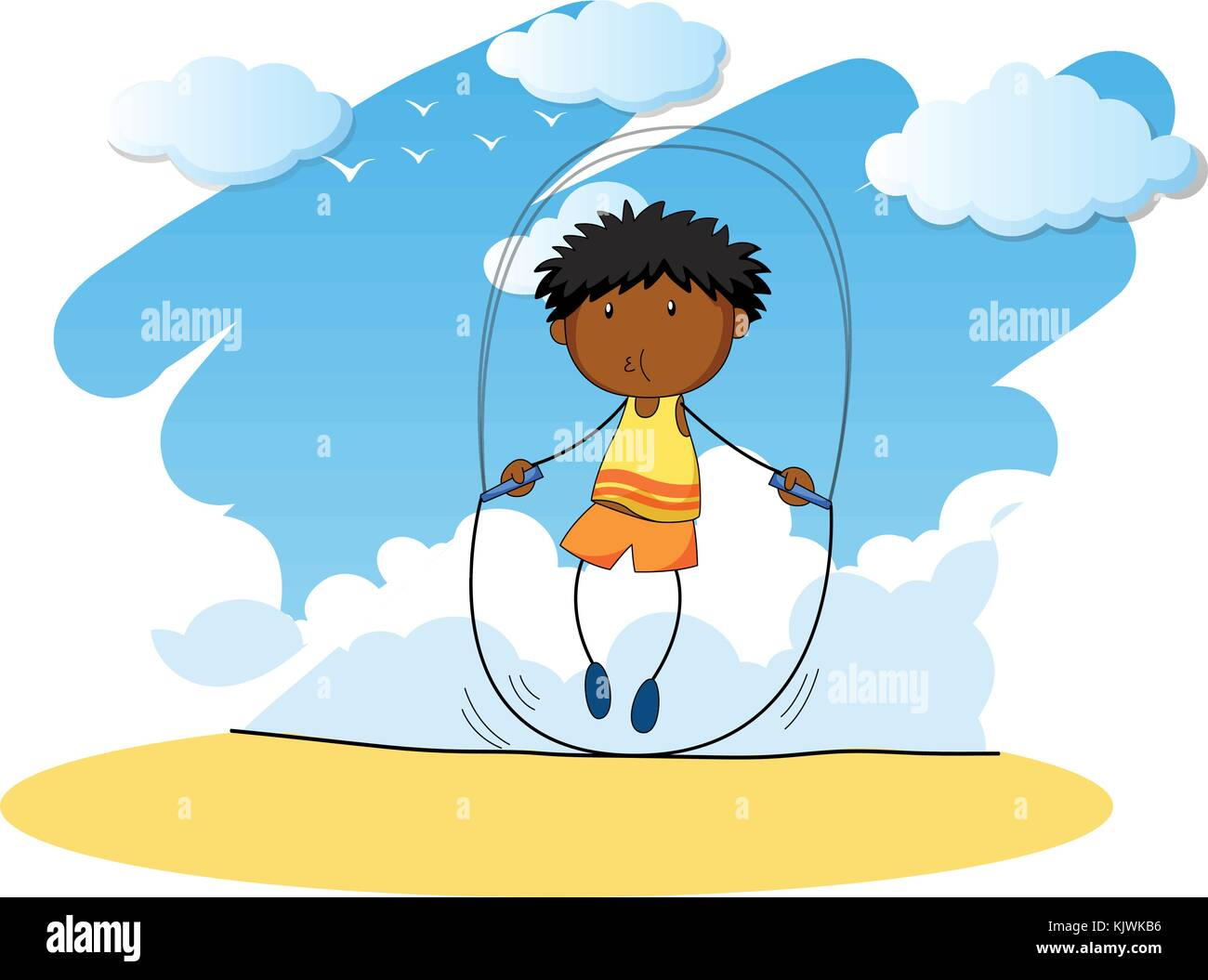 Boy jumping rope at day time illustration - Stock Vector