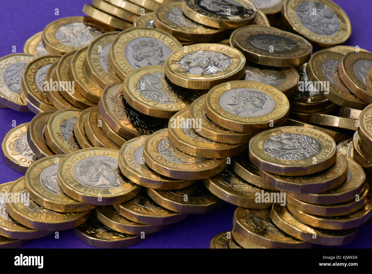 An untidy pile of lots of one pound coins on a purple or mauve background. Coins of the realm and currency new one - Stock Image