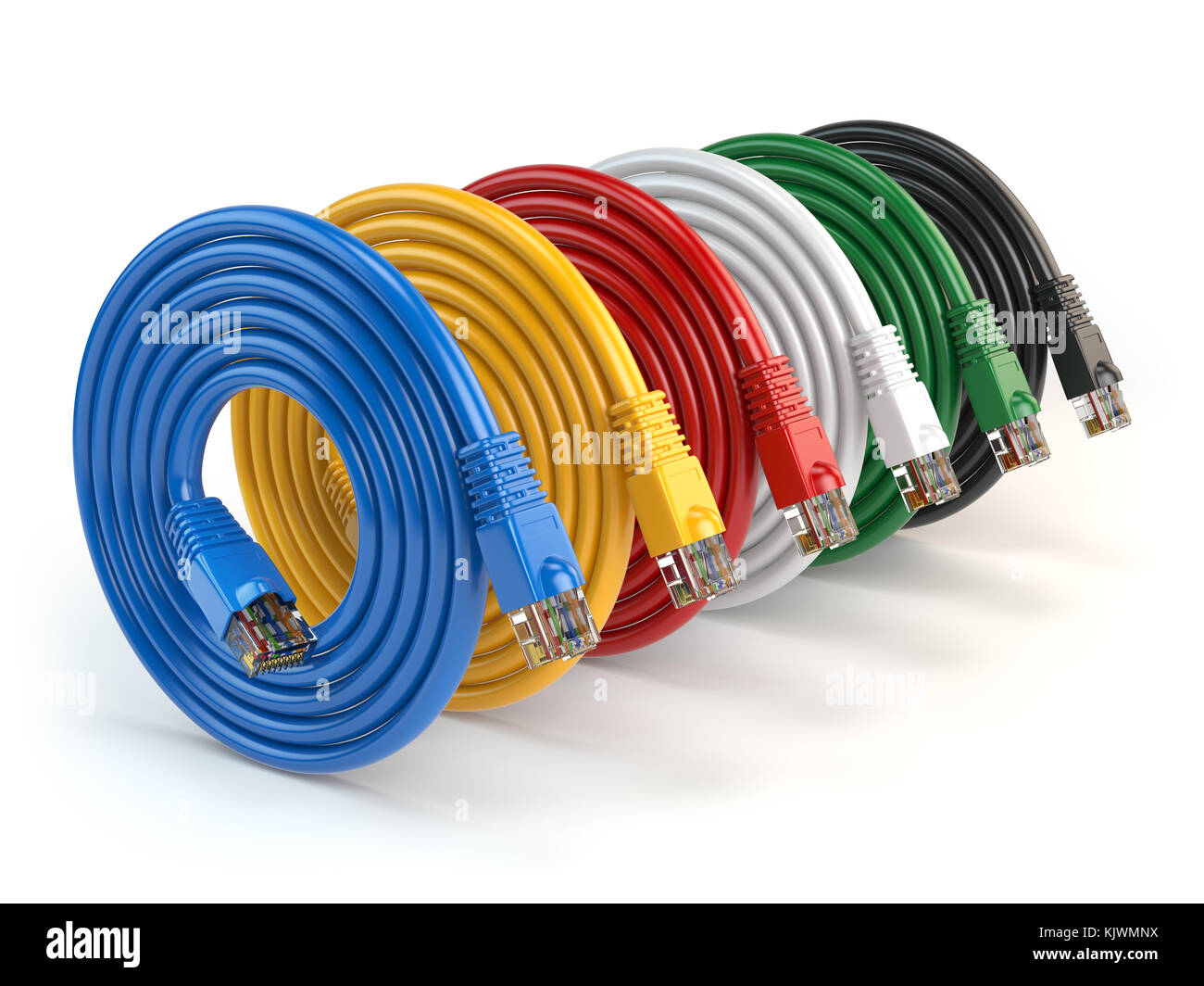 Set Of Colorful Lan Network Connection Ethernet Cables Internet Cable Wiring Cords Rj45 Isolated On White Background 3d Illustration
