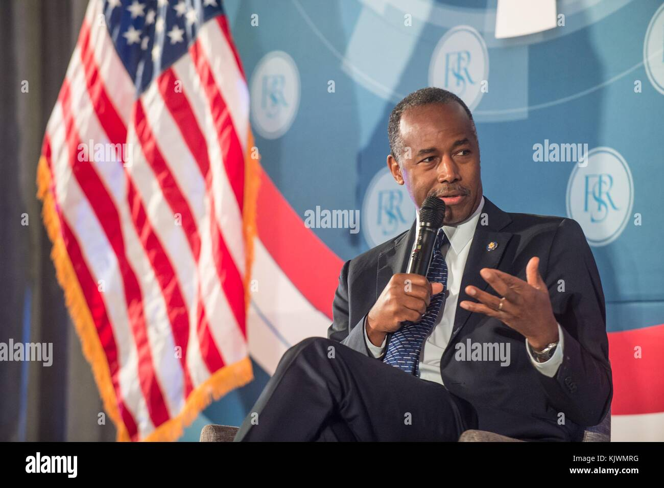 U.S. Housing and Urban Development Secretary Ben Carson speaks during the Financial Services Roundtable Fall Conference Stock Photo