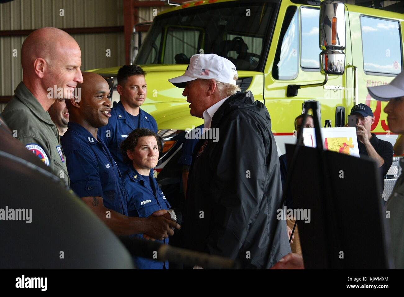 U.S. President Donald Trump meets with U.S. Coast Guard officers after Hurricane Irma September 14, 2017 in Ft. - Stock Image