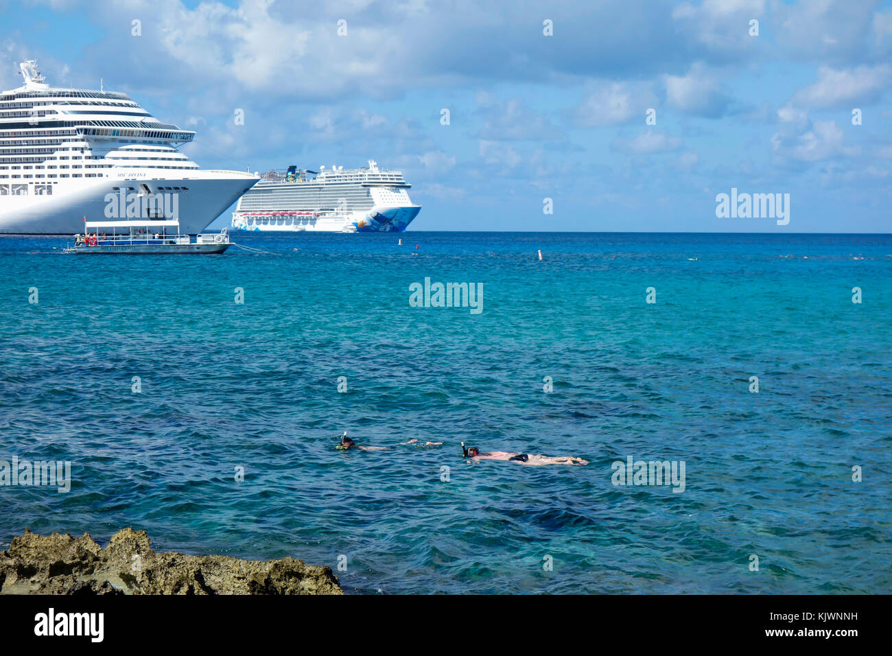 Waterfront and town centre of Georgetown on Grand Cayman in the Cayman Islands. - Stock Image