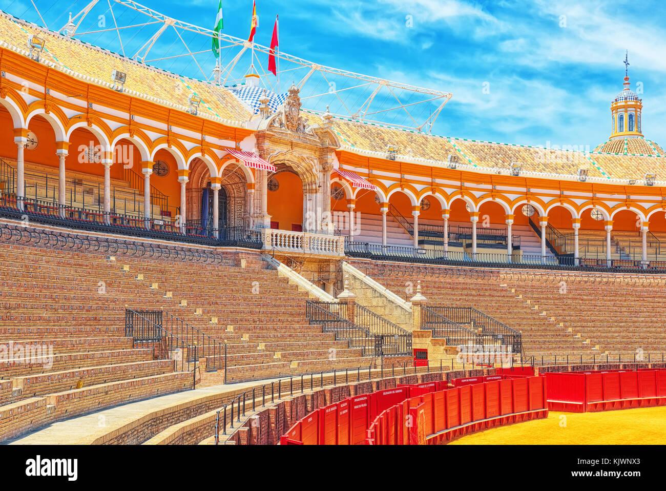 Panorama view of Square of bulls Royal Maestranza of Cavalry in Seville.(Plaza de toros de la Real Maestranza de - Stock Image