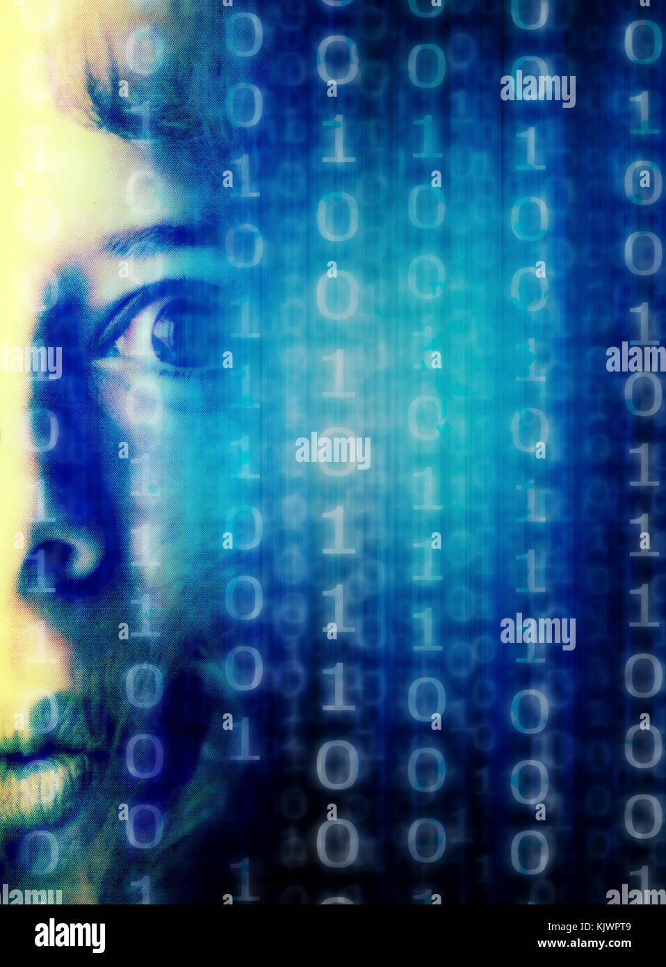 woman face and binary digits, pixelated effect - Stock Image