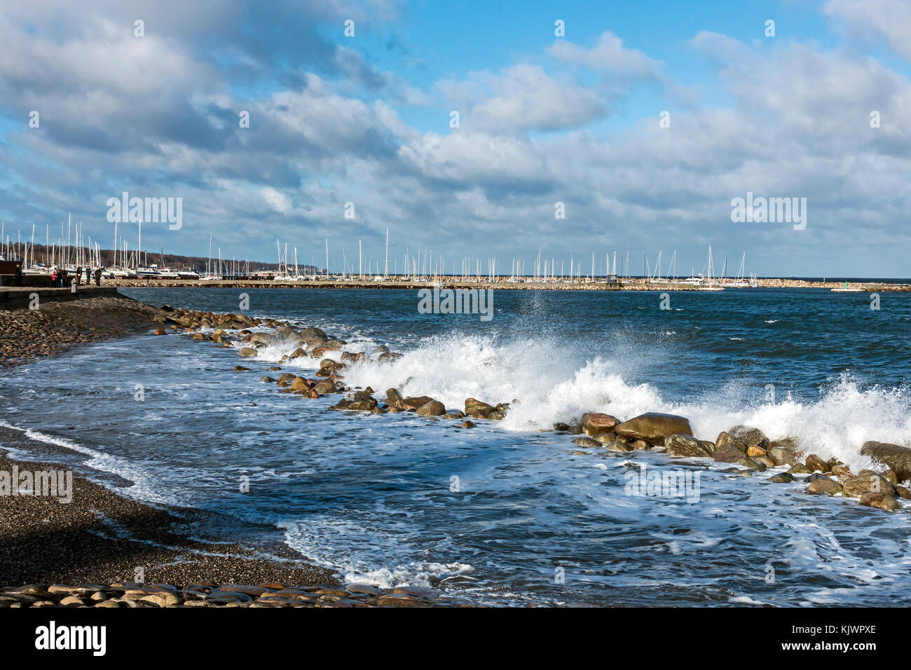 Breakwater at Elsinore Sealand Denmark Europe with the Nordhavnen (North Harbour) in the background. - Stock Image