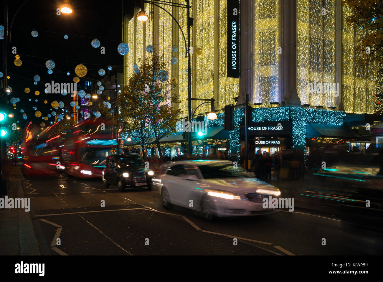 LONDON - NOVEMBER 25, 2017: Christmas lights on Oxford Street, London, UK. The full length of the busiest shopping Stock Photo