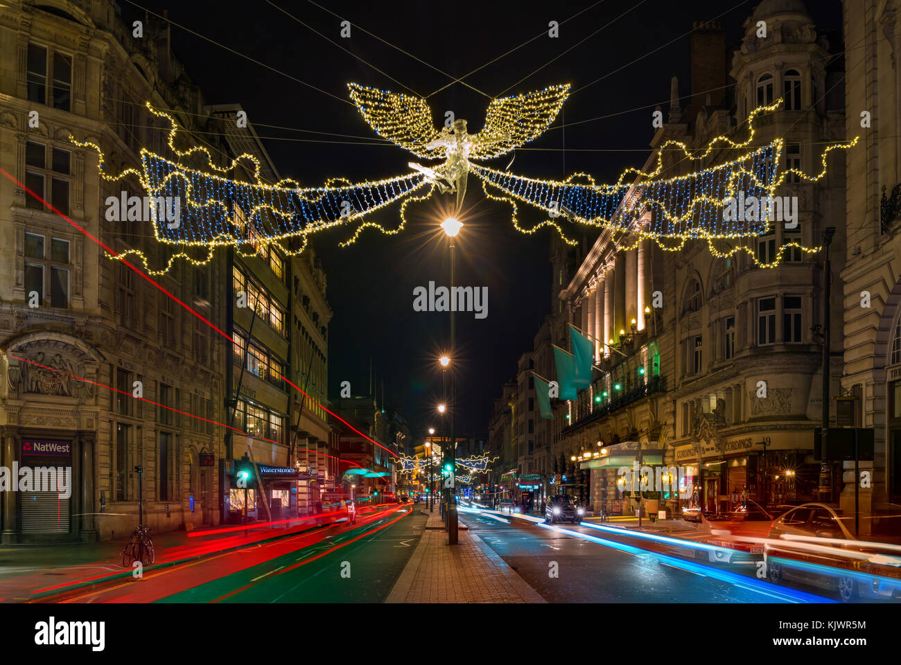 LONDON - NOVEMBER 25, 2017: Christmas lights in Piccadilly, one of the busiests streets in London, attract thousands - Stock Image