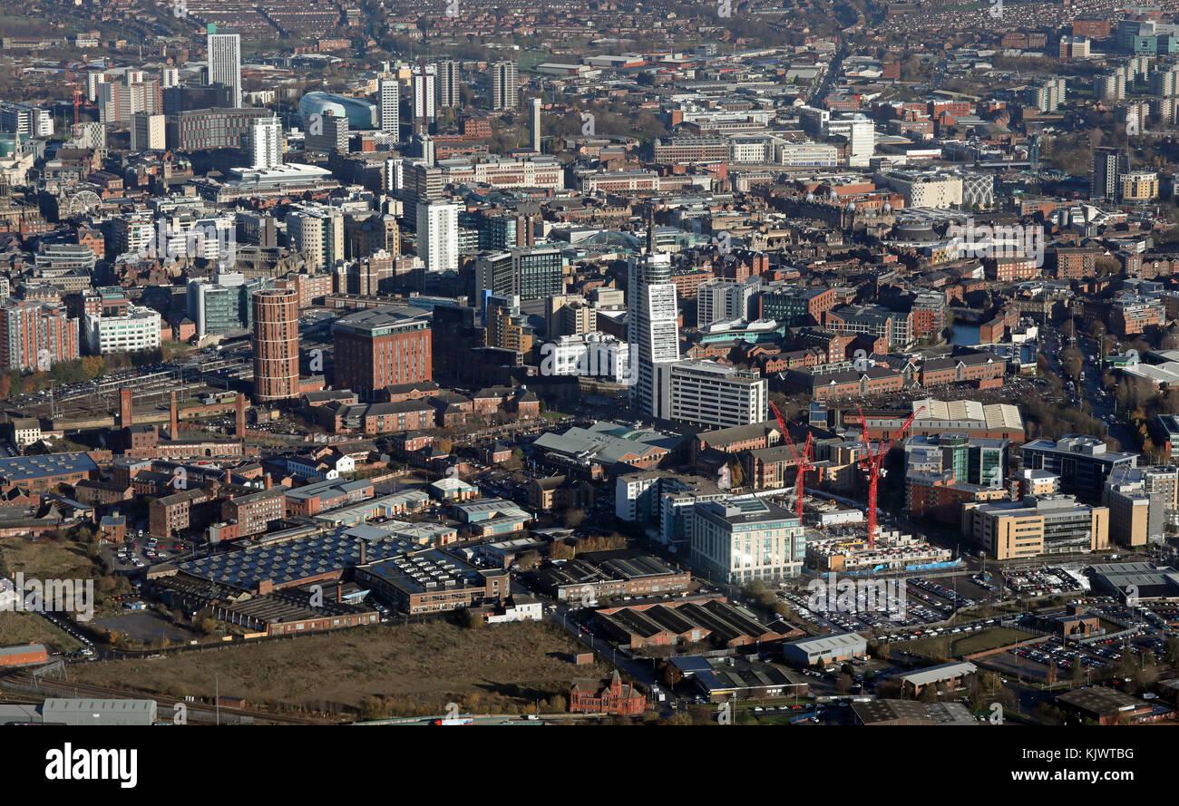 aerial view of Bridgewater Place & Leeds City Centre, UK - Stock Image