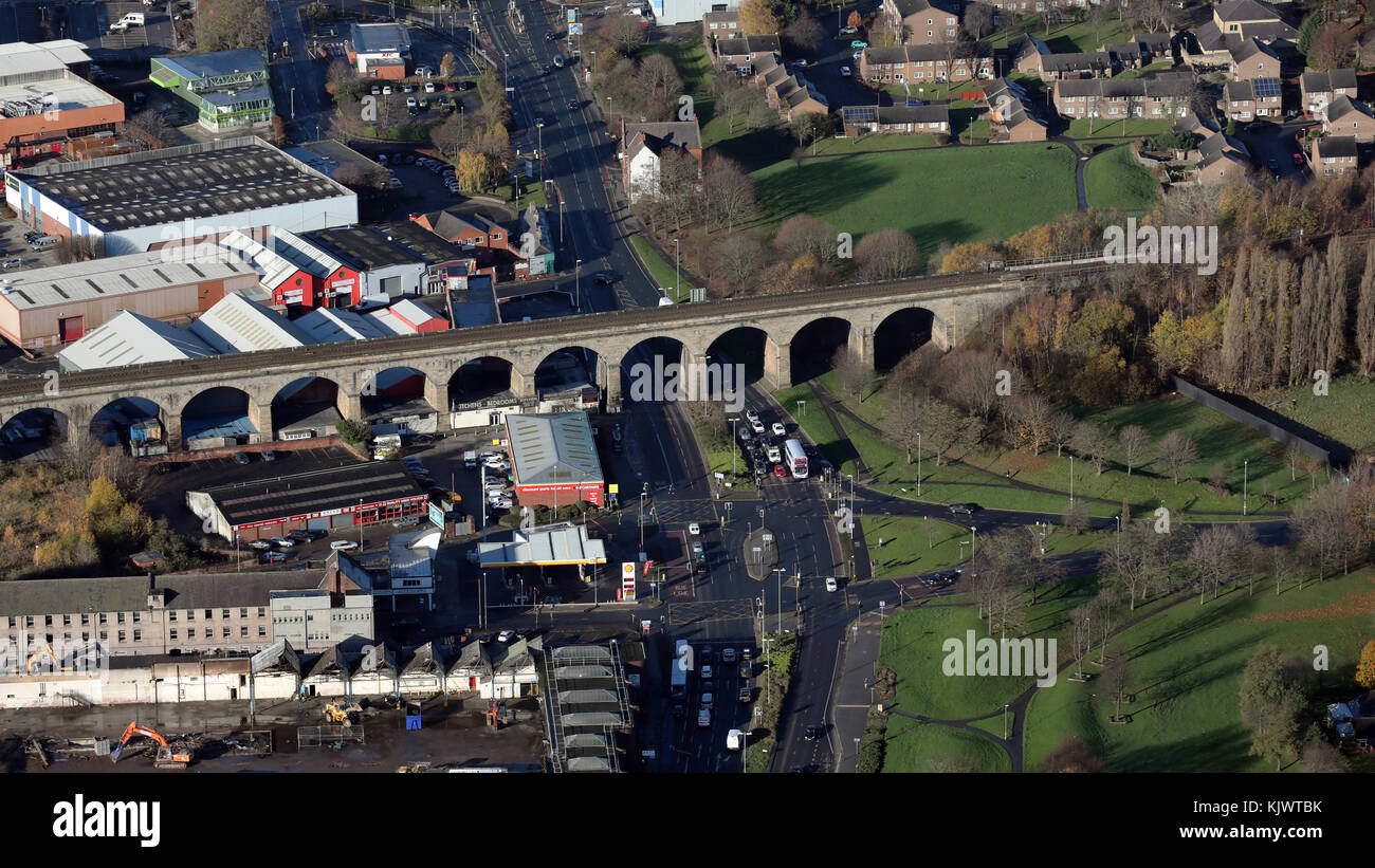 aerial view of Kirkstall Road railway viaduct, Leeds, UK - Stock Image
